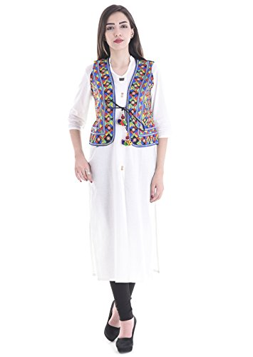 Attire Women's Kutch embroidered Shrug/Navratri special Gujarati koti jacket Assorted Colours and Assorted Designs.  available at amazon for Rs.599