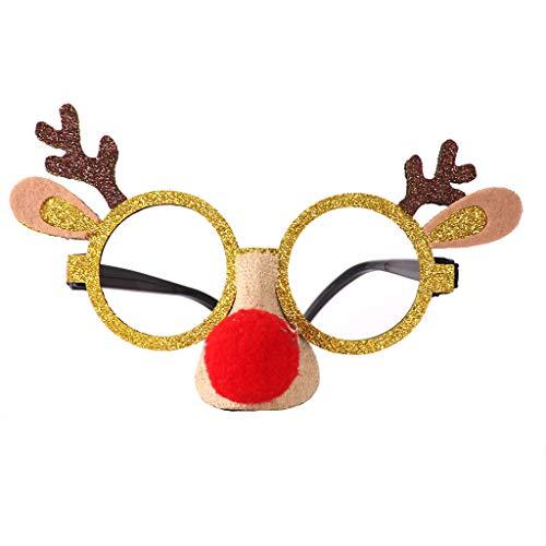 Iwähle Weihnachtsdeko, Elch Elchstil Brillen Brillenrahmen Brillenfassung mit Pailletten Sequin für Kinder Mädchen Jungen Frauen Männer Schneemann, Spielzeug Zubehör (Gelb)