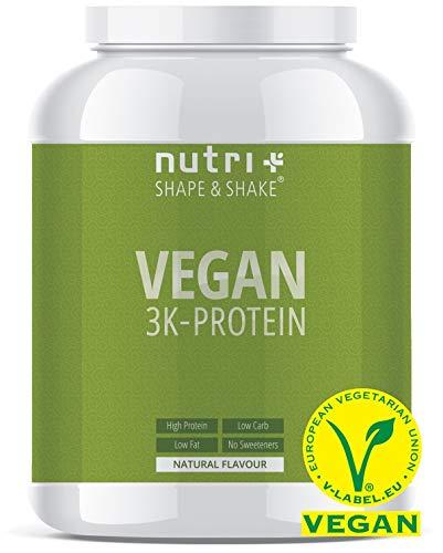 VEGANES EIWEIßPULVER Neutral ohne Süßungsmittel - 85,8{46e5f28cf9371270d514f9696ba7646cb3cc065c3a80e05ad687cdf5fdf850e3} Eiweiß - 1kg - Nutri-Plus Shape & Shake Vegan - Natural Proteinpulver unflavored - natürlich auch zum Kochen und Backen