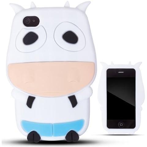 Zooky® bianco MUCCA silicone custodia / copertura / case per Apple iPhone 4 / 4s