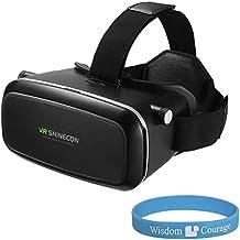 DMG VRShinecon 3D Virtual Reality Google Cardboard Glasses Headset Plus Wristband (Black)