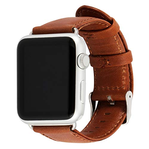 Daptsy Compatible Bands Apple Watch 42mm 38mm Leather Band with Stainless Steel Clasp for iWatch 3 Series, 2 Series, 1 Series, Sport, Light Brown Color Edition
