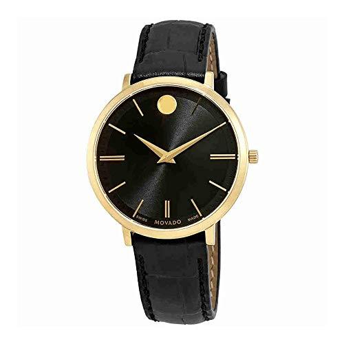 Movado Women's Ultra Slim 35mm Leather Band Steel Case Quartz Watch 607182