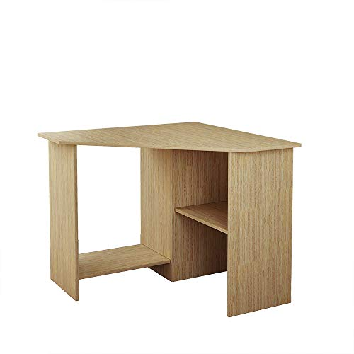BLUE HORIZON Wooden Home Office Desk Oak Corner Office Worksation Gaming Wrinting Desk for Small Space