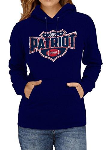 Shirt Happenz True Patriot #8 Premium Hoodie Superbowl American Football Play Offs Frauen Kapuzenpullover, Farbe:Dunkelblau;Größe:XXL (Nfl Patriots Frauen Jersey)
