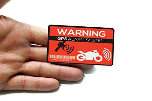 GPS Alarm Aufkleber Motorrad - 2 Stück Warnaufkleber - Premium Qualität - 7 cm x 5 cm - von Außen anzubringen - Prävention Motorraddiebstahl