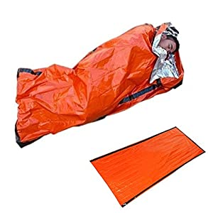 41vXa61EChL. SS300  - ZHIXX MALL 2 Pack Emergency Sleeping Bag, Lightweight Survival Sleeping Bag, Waterproof Bivvy Bag for Outdoor/Camping/Hiking -Orange,PE Aluminum Film