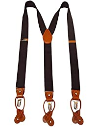 Navaksha Brown Y-Back Suspender with Convertible Clip and Button End