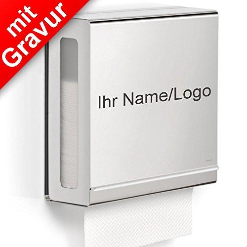 Sterngraf blomus NEXIO Papiertuchspender poliert MIT Gravur (z.B. Namen, Logo) - hygienische Einzeltuchentnahme