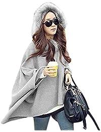 Baijiaye Winter Poncho Mit Kapuze Damen Warm Fell Hooded Poncho Frauen Baggy Pullover Poncho Mantel Elegant