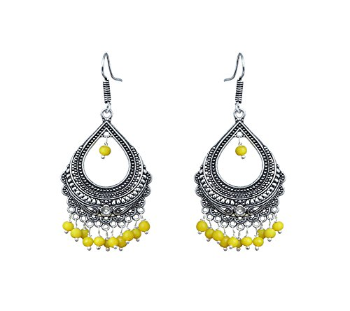 Waama Jewels Elegant Pair Of Yellow Color Pearl Gold Plated Jhumka Dangle & Drop Earring For Women  available at amazon for Rs.179