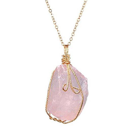 Liquidazione offerte, fittingran liquidazione offerte arcobaleno pietra naturale cristallo chakra rock collana gioielli regalo pendente al quarzo (rosa)