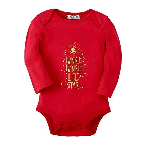 Sanlutoz Mädchen Langarm Body Baumwolle Wickelbody Strampelhöschen (12-18 Monate, R05 GOLD STAR) (Nicht-eisen-shirt Klassischen,)
