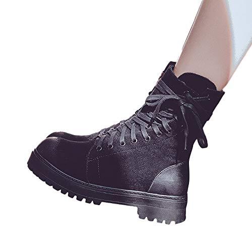 TianWlio Damen Stiefel Stiefeletten Frauen Damen Retro Lace-Up Schuhe Plattform Rutschfeste Runde Zehe Reißverschluss Martin Stiefel