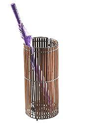 Kobolo Dekorativer Runder Schirmständer Mit Metallrahmen Aus Braunem Bambus