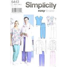 Simplicity 5443 AA - Patrones de costura para uniformes médicos (tallas grandes)