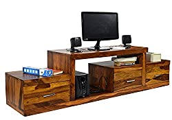 Timbertaste Sheesham Wood 1.75 Meter Natural Teak Finish 3 Draw Nadia TV Unit Cabinet Entertainment Stand