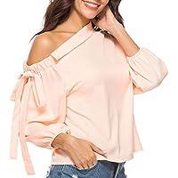 Damen T Shirt,Geili Frauen Damenmode Bowknot Oblique Kragen Langarm T-Shirt Tops Bluse Sexy Kalte Schulter Solid... preisvergleich bei billige-tabletten.eu