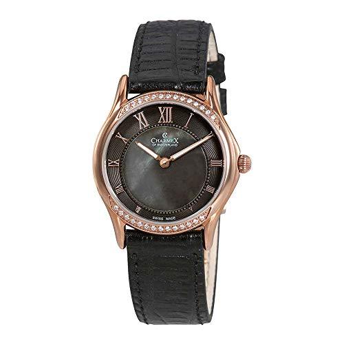 Charmex Cannes Femme 30mm Noir Cuir Bracelet Montre 6327