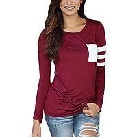 Camiseta de mangas largas para Las mujeres de moda, de costura de bolsillo redondo cuello, camiseta de color sólido blusa larga