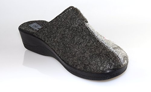 BTS–caldo in Feltro Mule pantofole pantofole a forma per le donne con suola resistente in Nero/Grigio, Gr. Misure UK 345678 Red - RED