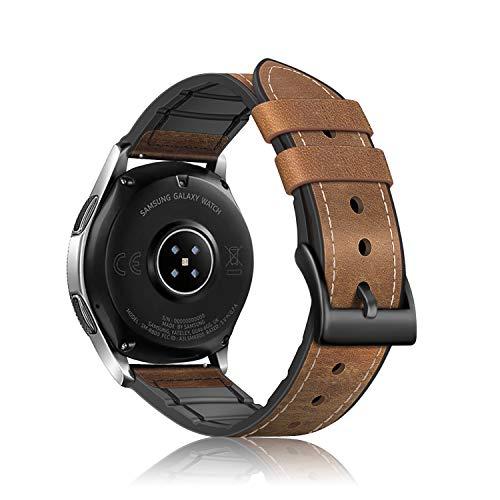Fintie Armband kompatibel für Galaxy Watch 46mm / Gear S3 Frontier / Gear S3 Classic Smartwatch - Uhrarmband aus Leder & TPU Ersatzband Vintage mit Edelstahlschnalle, Braun