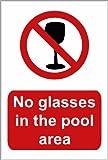 Schwimmbad Sicherheit Schild: ohne Gläser in den Pool-Bereich A5Größe