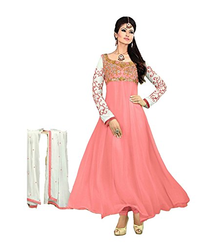 Clickedia Women's Heavy Georgette Semi-stitched Pink Embroidered Floor Length Anarkali Suit - Dress Material  available at amazon for Rs.399