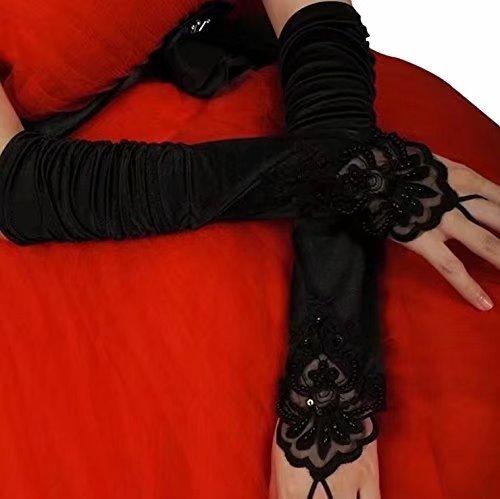 Vampir Kostüm Damen Kurz - Fingerlose Handschuhe Spitze Braut Hochzeit Handschuhe