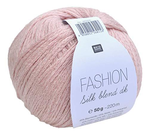Rico Fashion Silk blend dk Farbe 007 - puderrosa, edles Garn aus Seide & Baumwolle zum Stricken &...