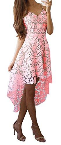 Blansdi Damen Elegant Spitzenkleid Träger V-Ausschnitt Ärmellos Unregelmäßig Lang Abendkleid Brautkleid Cocktail Partykleid Festlich Hochzeitskleid Rosa