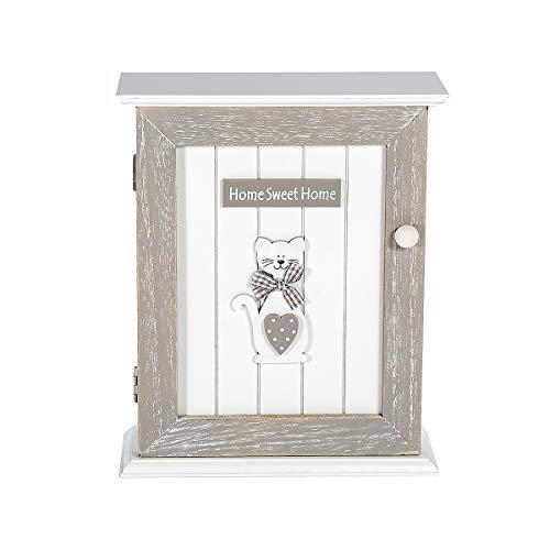 SPOTTED DOG GIFT COMPANY Boîte à Clés Murale en Bois - Murale Porte-clés, Rangement des Clefs avec 6 Crochets, Blanc Gris Motif Chat, Décoration Cuisine, Hall et Maison