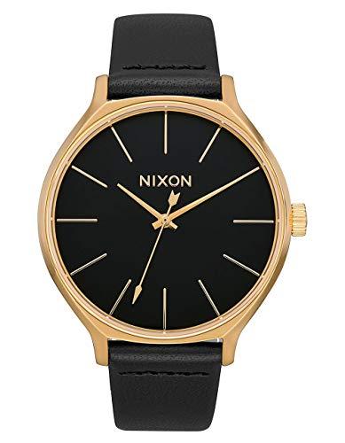 Nixon–da donna Clique orologio analogico in pelle in colore: Oro/Nero