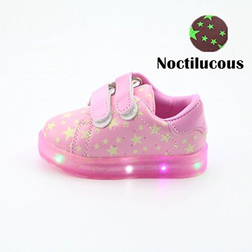 Kinderschuhe, Chickwin Star Baby LED Kinderschuhe Unisex Weich Und Bequem Rutschfest Bunte LED-Leuchten Schuhe SportSchuhe Flashing Schuhe (24 / Maß Innen (cm) 14.7, Rosa)