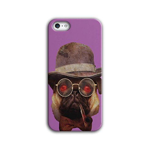 Wellcoda Mops Gangster Cool Komisch Hülle für iPhone 5 / 5S Clever Rutschfeste Hülle - Slim Fit, komfortabler Griff, Schutzhülle