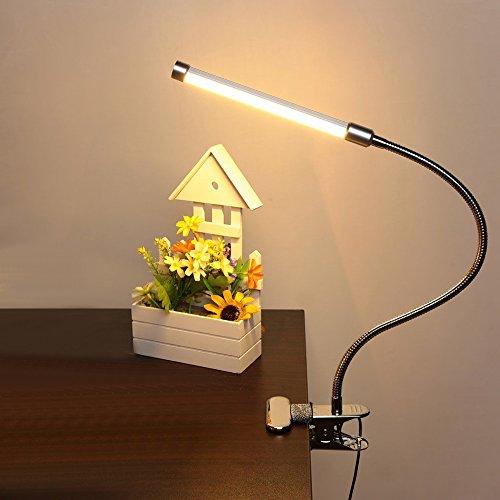 DULEE Flexible Dimmable Lampe Augenschutz LED Lesen neben Schreibtisch Clip Lampe Augenpflege Tisch USB Klemme Licht 6W 180 Leds, Warmes Weißlicht