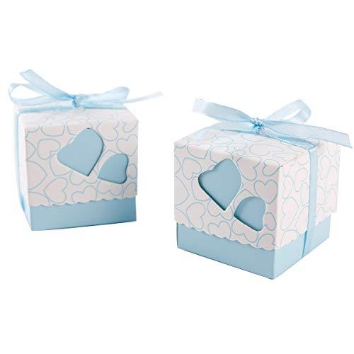 Surepromise 100 Stück Geschenkschachtel Schmuck Klein Geschenkbox Gastgeschenke Schachtel 5x5x5cm mit Blau Herzen und Band für Hochzeit Geburtstag Party Taufe