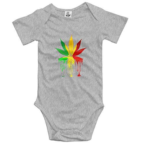 Abigails Home Marihuana Leaf Rasta Dripping Neugeborenes Mädchen Junge Kinder Baby Strampler Kurzarm Kleinkind Overall(18M,Grau) -