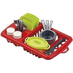Jouets Ecoiffier - 956 - Égouttoir à vaisselle pour enfants + vaisselle et couverts - 22 pièces - Dès 18 mois - Fabriqué en France