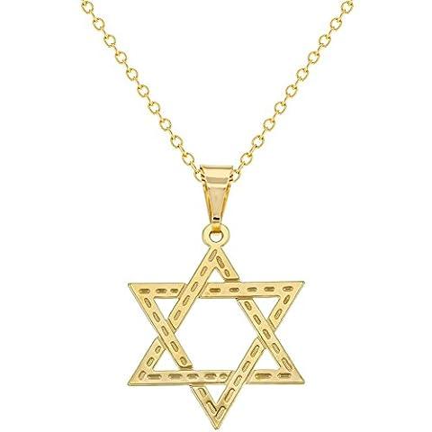 18K Plaqué or étoile de david Religieux juif Plat Collier Pendentif Médaille 48,3cm