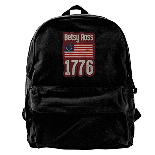 Betsy Ross-American Flag 1776 Backpack Unisex Classic School Bookbags Canvas Backpack Travel Bag Duffel Bag 14Inch Laptop Bag Purse for Boy's Girl's -