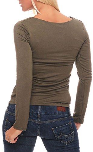 Malito Damen Pullover | Longsleeve mit Rundhals Ausschnitt | Basic Oberteil