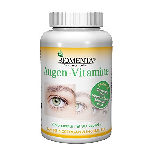 BIOMENTA AUGEN VITAL | Augen Vitamine mit Beta Carotin + Lutein + Zeaxanthin + Vitamin A, C, E + B-Vitamine + Zink + Selen | 3 Monatskur | unterstützt Augen-Feuchtigkeit & Sehkraft verbessern | 90 Augen Kapseln