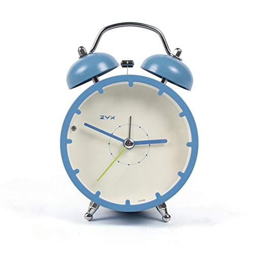 Despertador JXLBB Azul 4 Pulgadas Reloj Mute Simple Lado de la Cama Reloj Creativo Personalidad Estudiante...