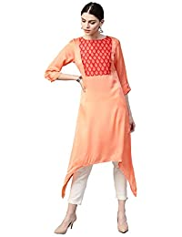 Jaipur Kurti Women Pastel Orange & Off White Solid Straight Satin Kurta With Pant