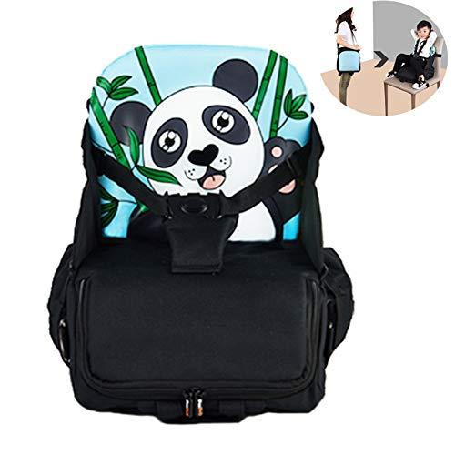 LUGUMU Boostersitz, Faltbar Mobiler Kindersitz Sitzerhöhung Und Reisesitz, Wickeltasche In Baby Reisesitz Verwandeln,(Panda) 12L,16kg,Blue