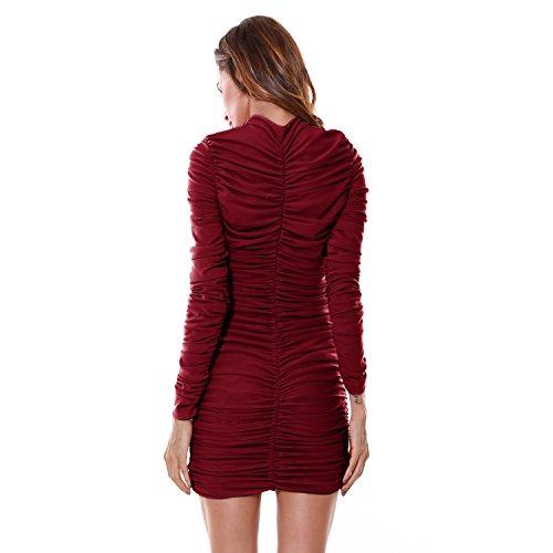 Whoinshop Damen Elegante Langarm Plisseekleid Figurbetontes Partykleid Minikleid Bodycon Kleider Festkleid Kleid Wein