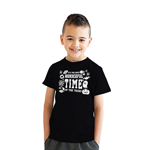 Crazy Dog Tshirts - Youth Its The Most Wonderful Time of The Year Tshirt Funny Halloween Tee for Kids (Black) - L - Jungen - L -