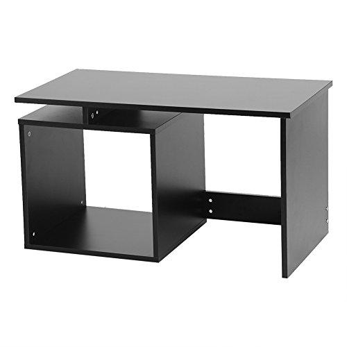 GOTOTOP Tee Kaffee Tisch mit quadratisch Ablage platzsparend Beistelltisch für Büro Wohnzimmer, Schwarz, 26.4x15.6 x 17.3inch