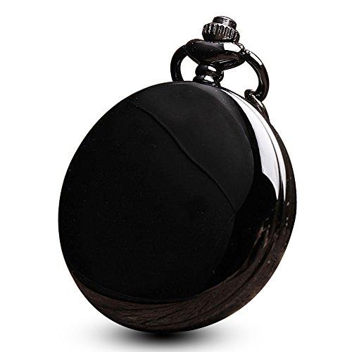 Noir vernis lisse Poche montres pour homme vintage Mirror Coque arabe montre gousset à quartz avec chaîne + Boîte